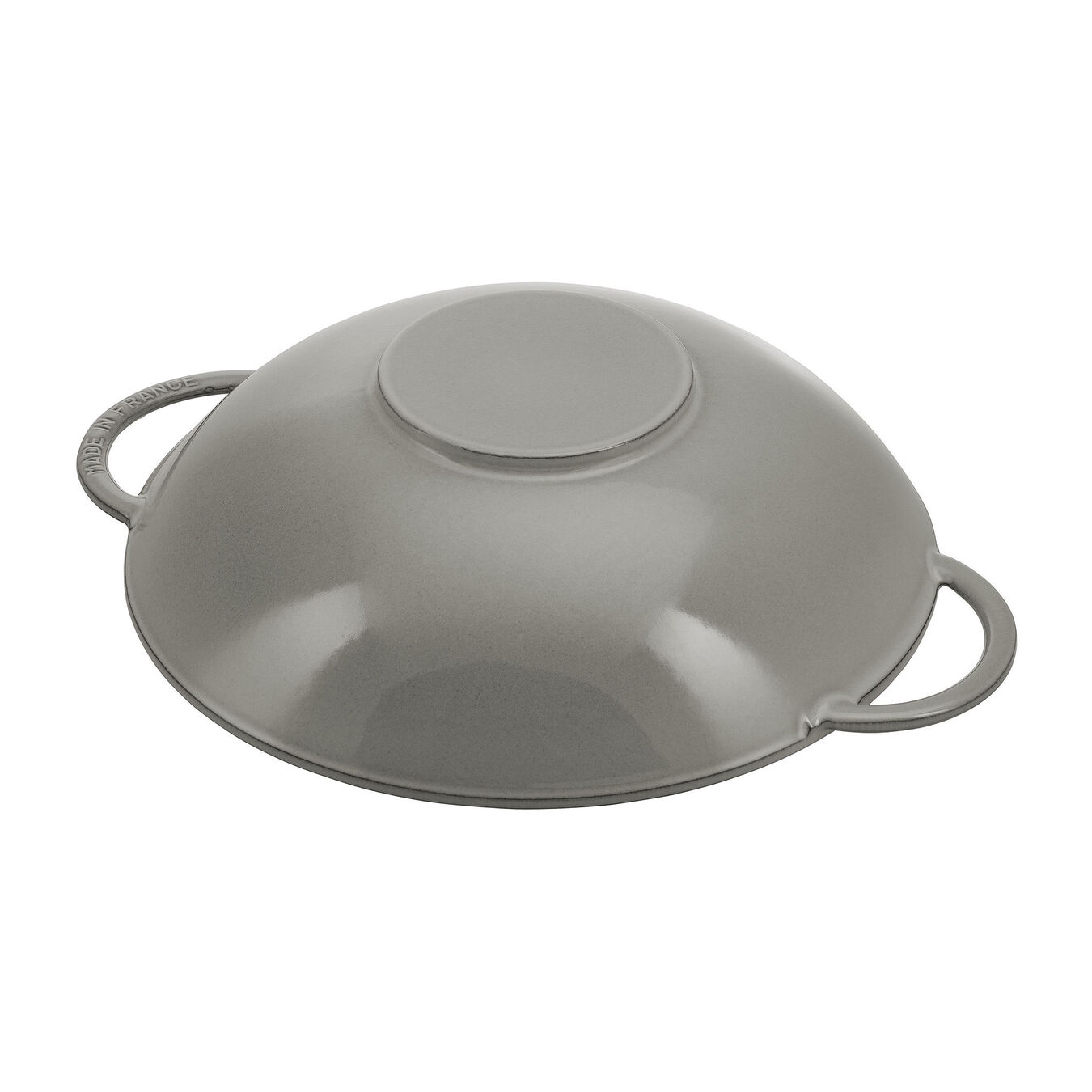 37 cm / 14.5 inch Cast iron Wok with glass lid, Graphite-Grey,,large 4