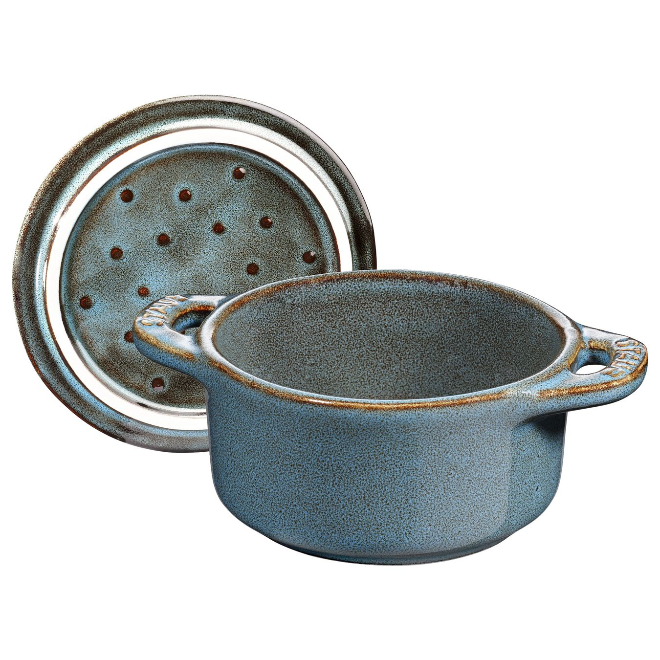 Mini Cocotte 10 cm, rund, Antik-Türkis, Keramik,,large 2