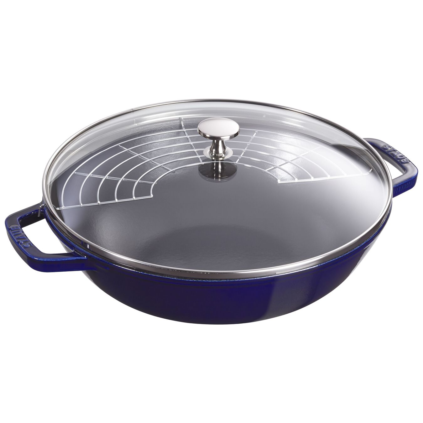 30 cm Cast iron Wok with glass lid, Dark-Blue,,large 2