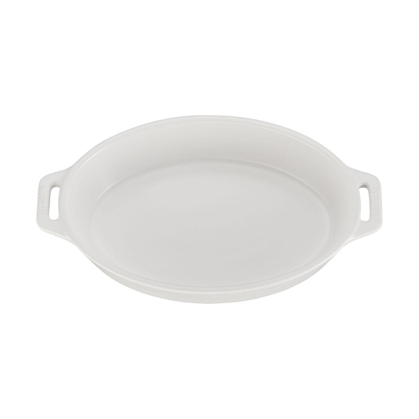 Ceramic oval Plat empilable, Matte-White,,large 2