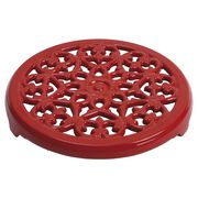 23 cm round cast iron Trivet, lily decal, cherry,,large