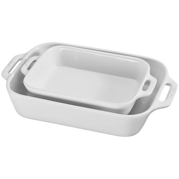 2-pc Rectangular Baking Dish Set, White, , large