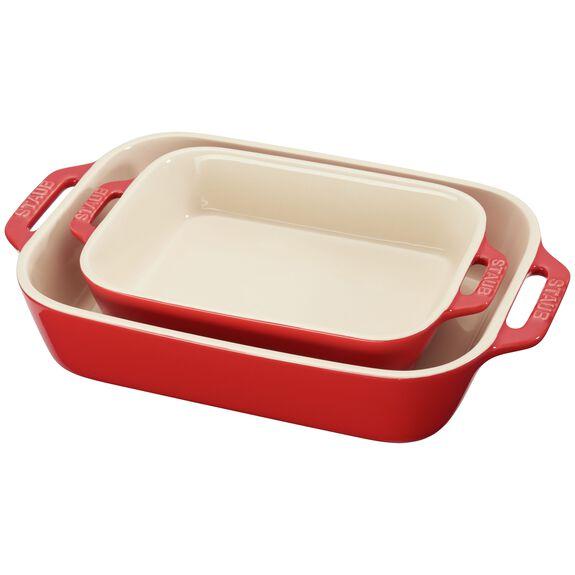 2-pc Rectangular Baking Dish Set, Cherry, , large