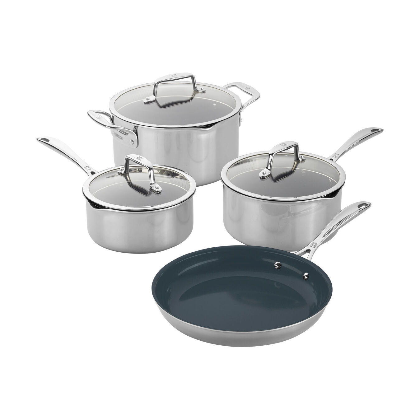 7-pc, 18/10 Stainless Steel, 18/10 Stainless Steel, Non-stick, Pots and pans set,,large 1