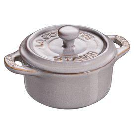 Staub Ceramique, Mini Cocotte 10 cm, redondo, Cinza antigo, Cerâmica