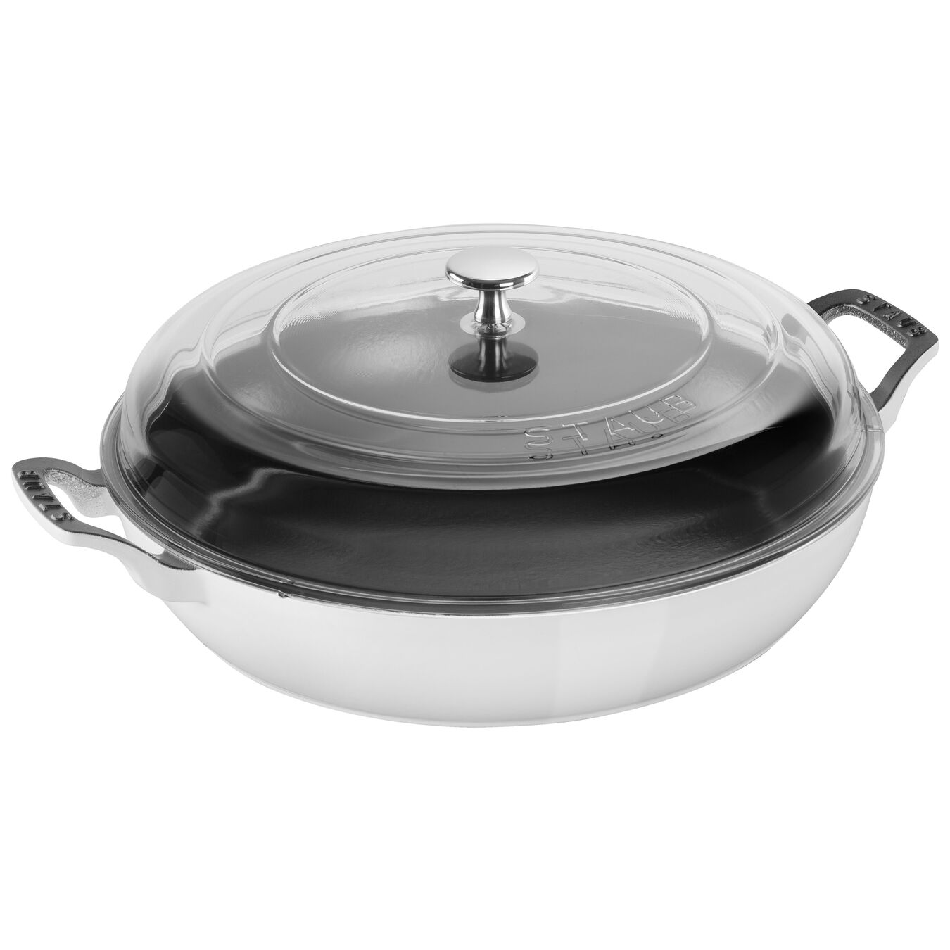 12-inch, Saute pan with glass lid, white,,large 1