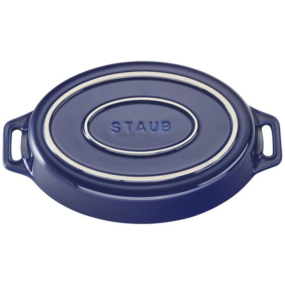 "9"" Oval Baking Dish, Dark Blue, , large 3"