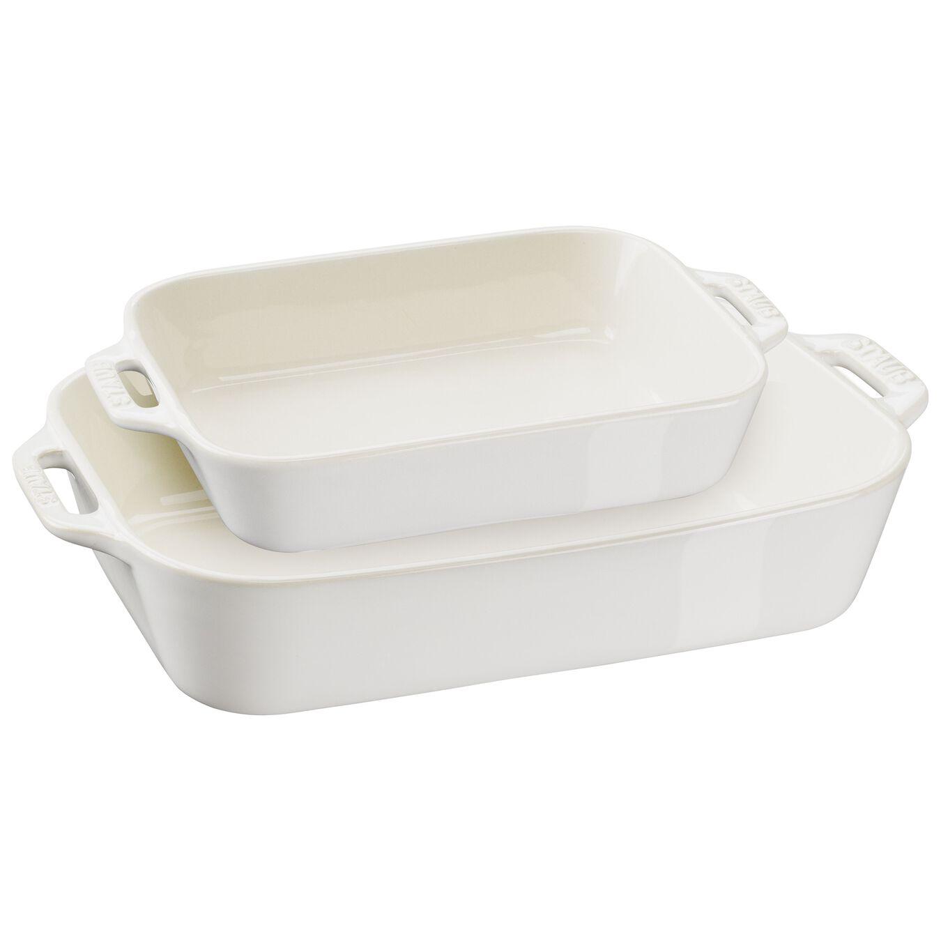 2-pc, Rectangular Baking Dish Set, ivory-white,,large 1