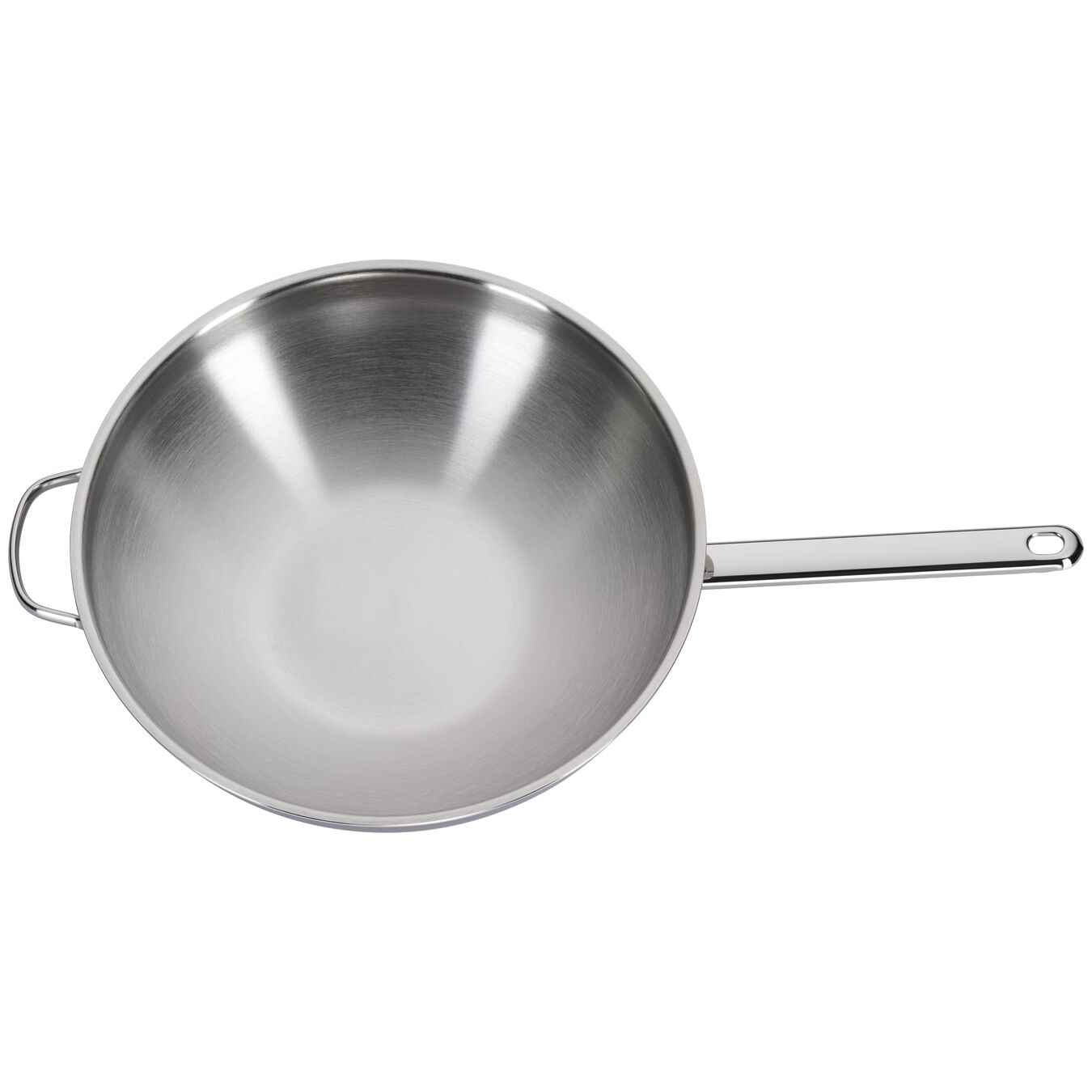 5.8-qt Stainless Steel Flat Bottom Wok with Helper Handle,,large 3