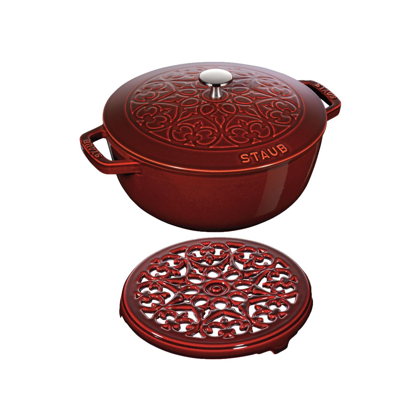 Pot set, lily decal, 2 Piece | round | Cast iron | grenadine-red,,large 1