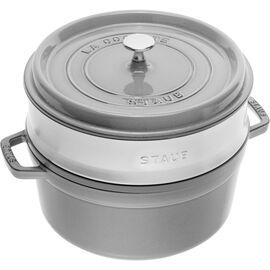 Staub La Cocotte, Cocotte avec panier vapeur 26 cm, Rond(e), Gris graphite, Fonte