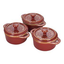 Staub Ceramics, 3-pc, Cocotte set, rustic red