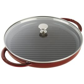 Staub Cast Iron, round, Grill pan with glass lid, grenadine