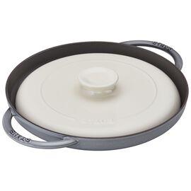 """Staub Cast Iron, 12"""" Chicken al Mattone Griddle & Press Set, Graphite Grey"""