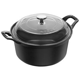 Staub Cast Iron, 2.75-qt Round La Coquette with Glass Lid - Graphite Grey