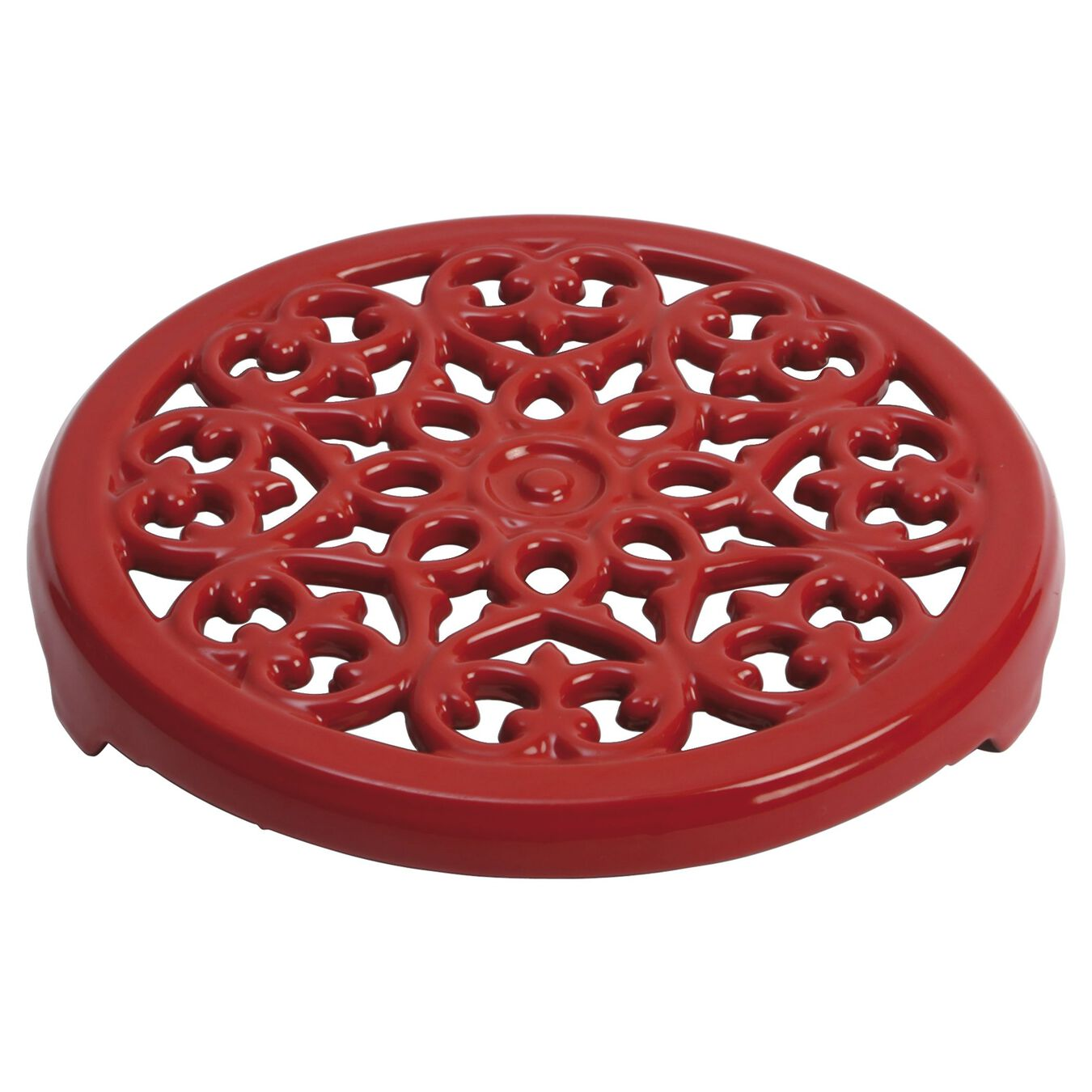 23 cm round Cast iron Trivet, Cherry,,large 1