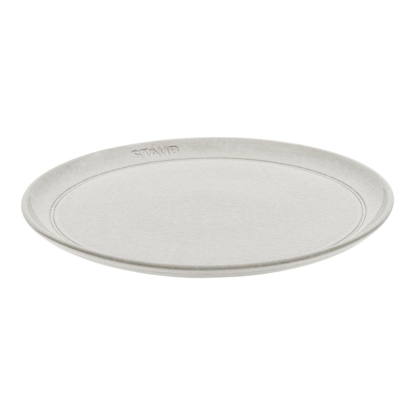 26 cm Ceramic round Plate flat, white truffle,,large 1