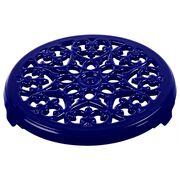 9-inch Round Lilly Trivet - Dark Blue,,large