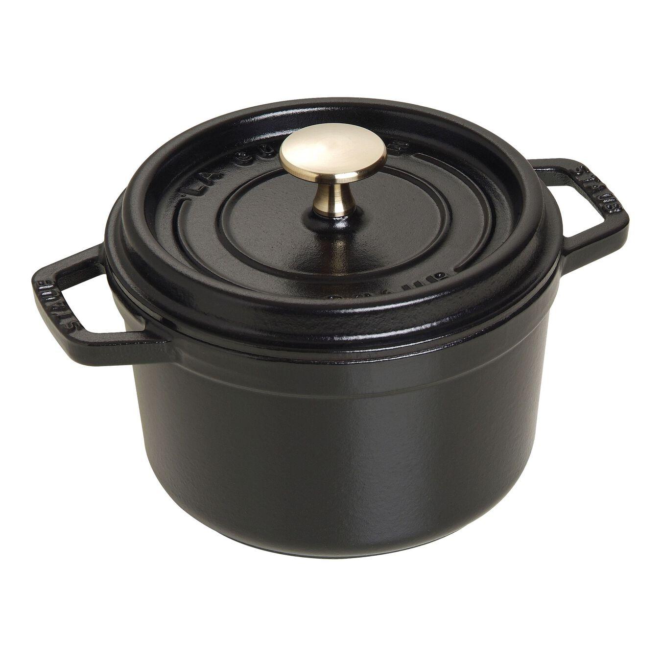 1.25 qt, round, Cocotte, black matte,,large 1