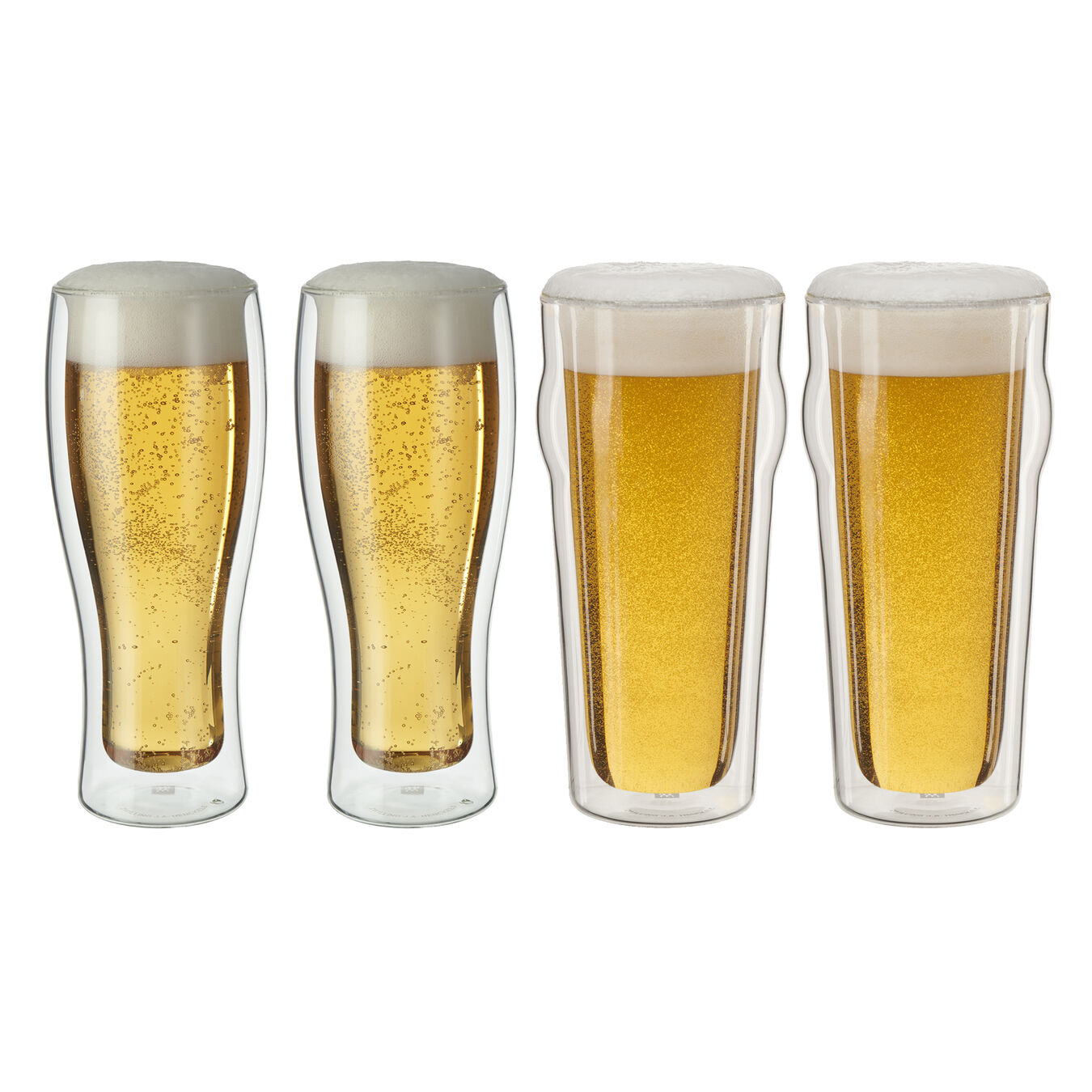 DOUBLE WALL GLASS  4-PIECE BEER SET,,large 1