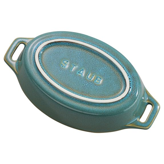 Ceramic Special shape bakeware, Rustic Turquoise,,large 2