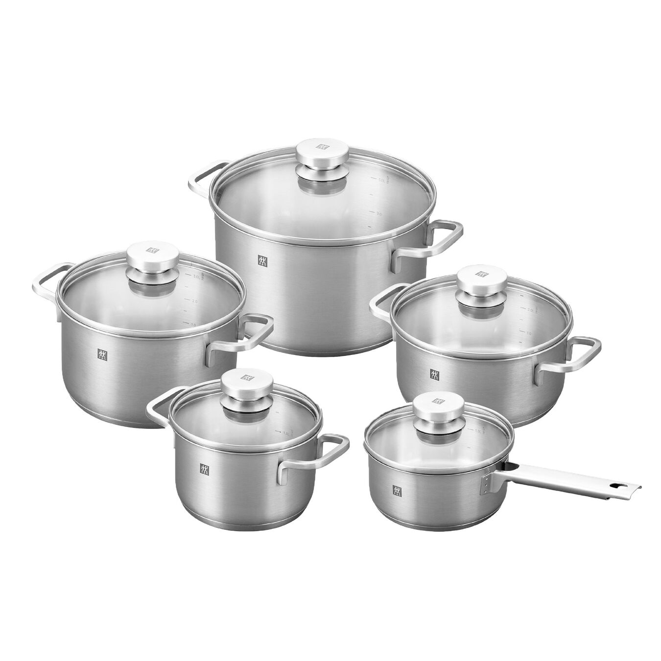 Set de casseroles, 10-pcs | round | 18/10 Stainless Steel,,large 1