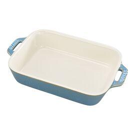 """Staub Ceramics, 7.5x6"""" Rectangular Baking Dish, Rustic Turquoise"""