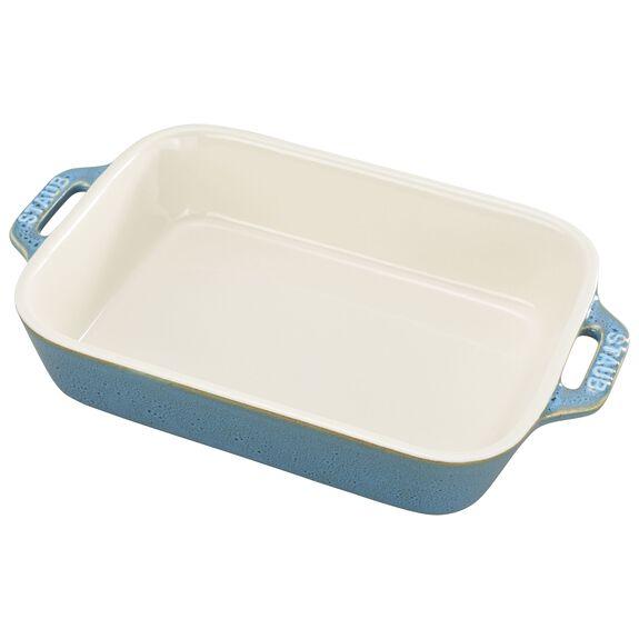 """7.5x6"""" Rectangular Baking Dish, Rustic Turquoise, , large"""