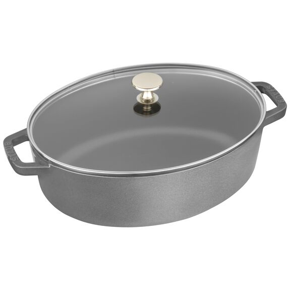 4.25-qt Shallow Wide Oval Cocotte with Glass Lid - Graphite Grey,,large