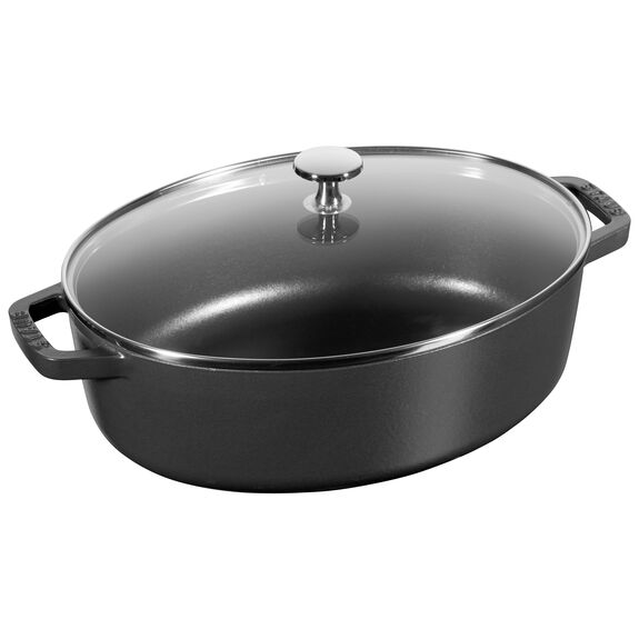 4.25-qt Shallow Wide Oval Cocotte with Glass Lid - Matte Black,,large