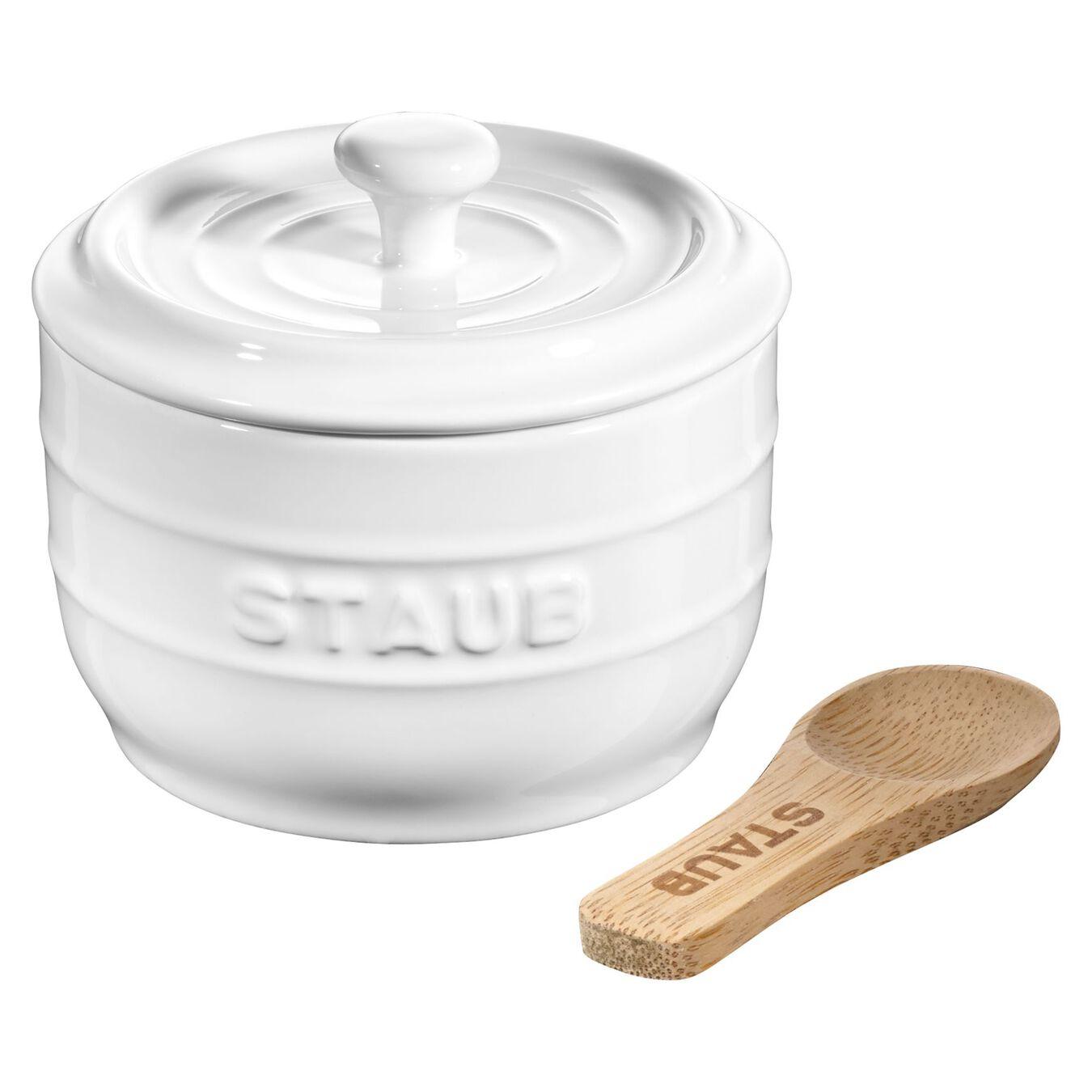 8 cm Ceramic Salt crock, pure-white,,large 1