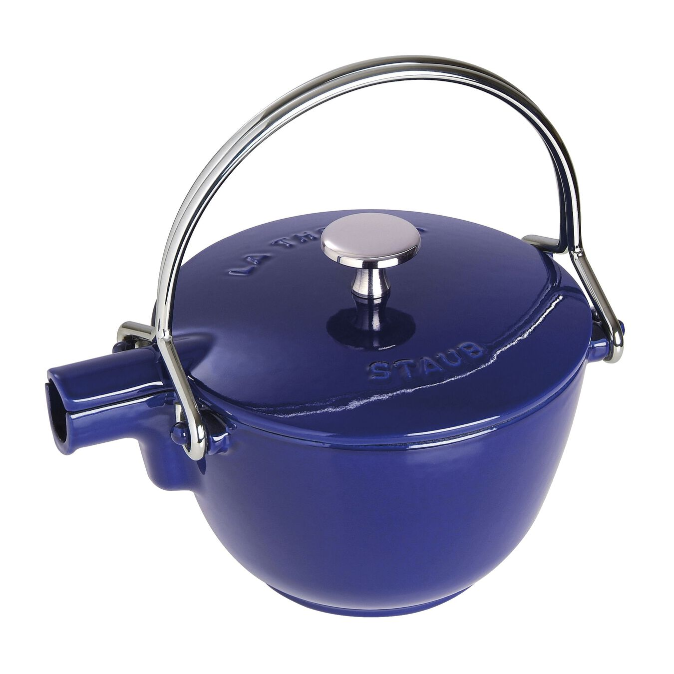 1.25 qt, round, Tea pot, dark blue,,large 1