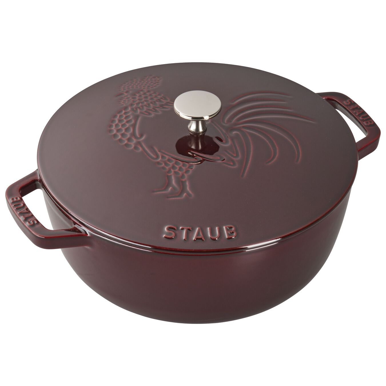 3.75 qt, Essential French Oven Rooster Lid, grenadine,,large 8