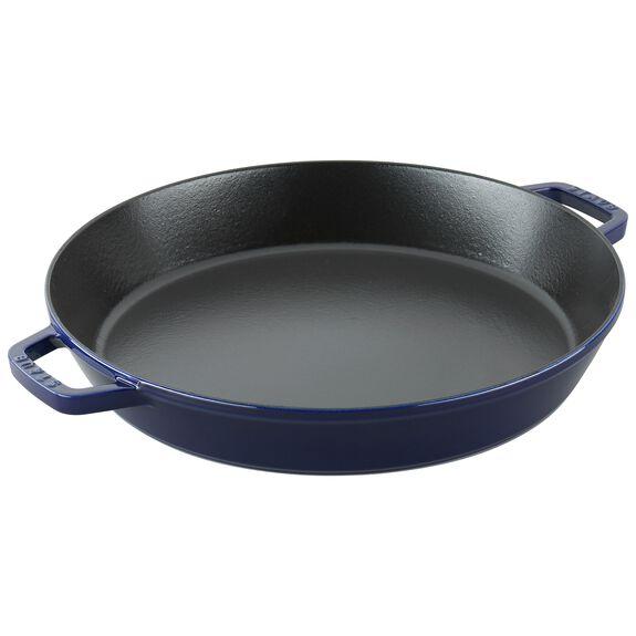15.75-inch round Enamel Paella pan, Dark Blue,,large