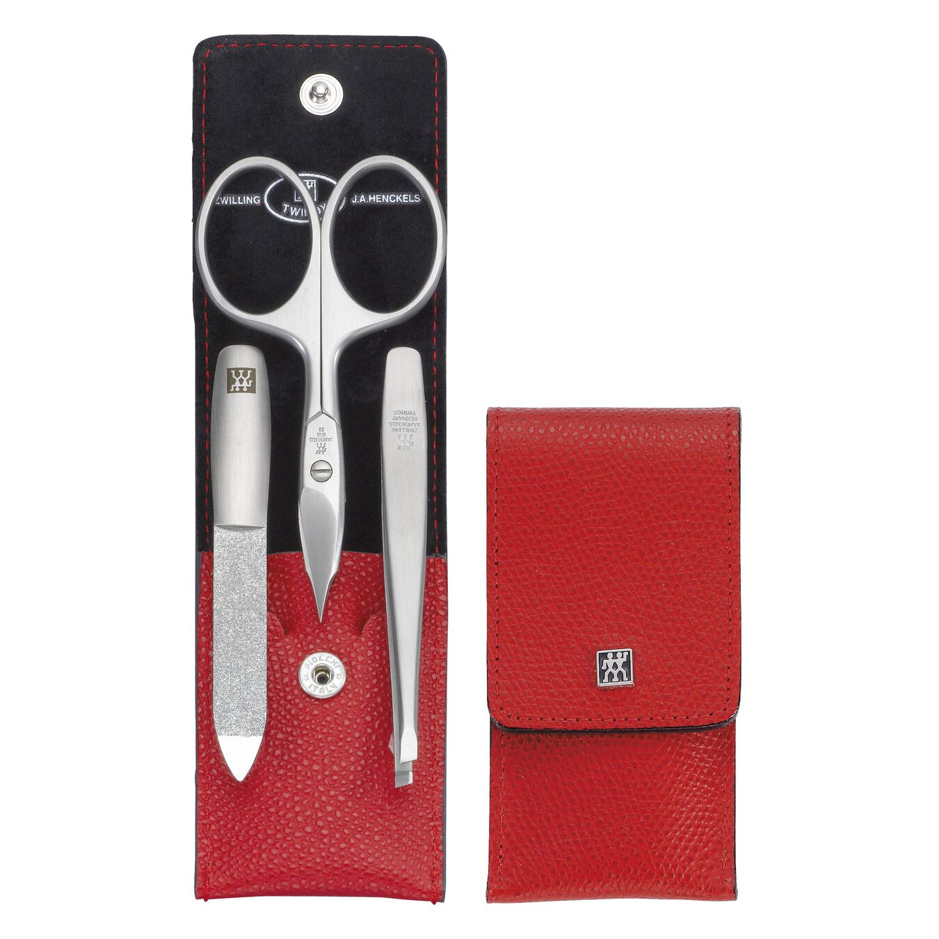 Snap fastener case, 3 Piece   special formula steel   red,,large 2
