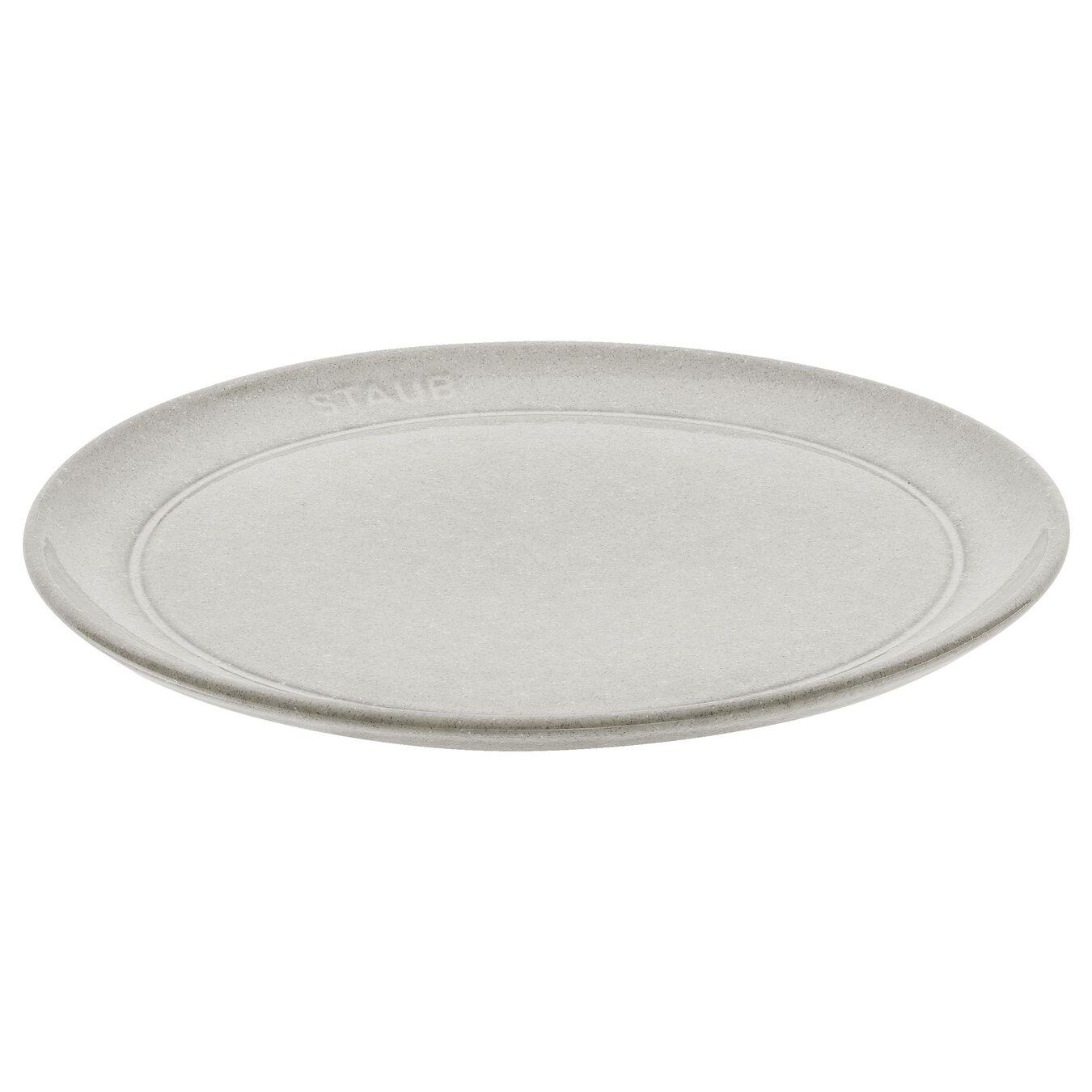 20 cm round Plate flat, white truffle,,large 1