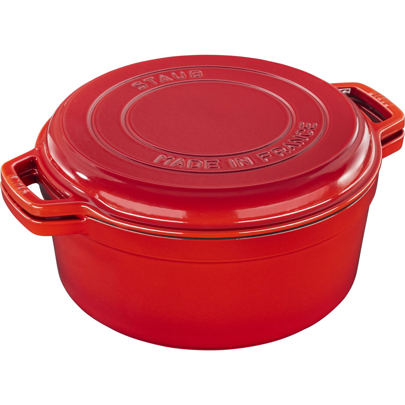 6 l Cast iron round Braise + Grill, Cherry,,large 5