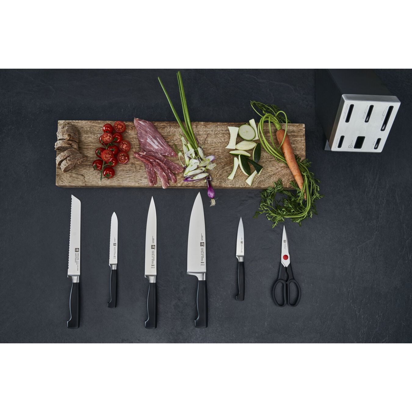 Set di coltelli con ceppo con sistema autoaffilante - 7-pz., grigio,,large 4