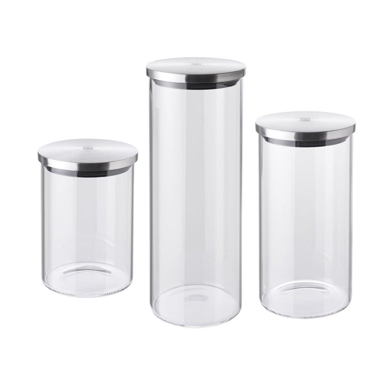 3 Piece Glass Storage Jars, S,M,L,,large 1