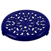 9-inch, round, Cast Iron Lilly Trivet, dark blue,,large
