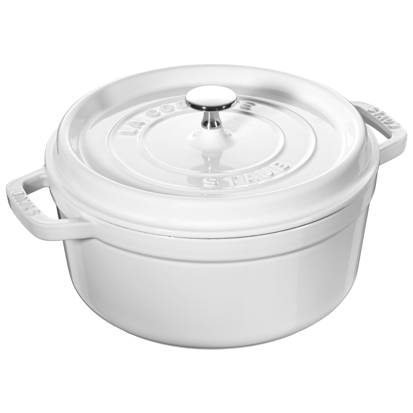 4 qt, round, Cocotte, white - Visual Imperfections,,large 1