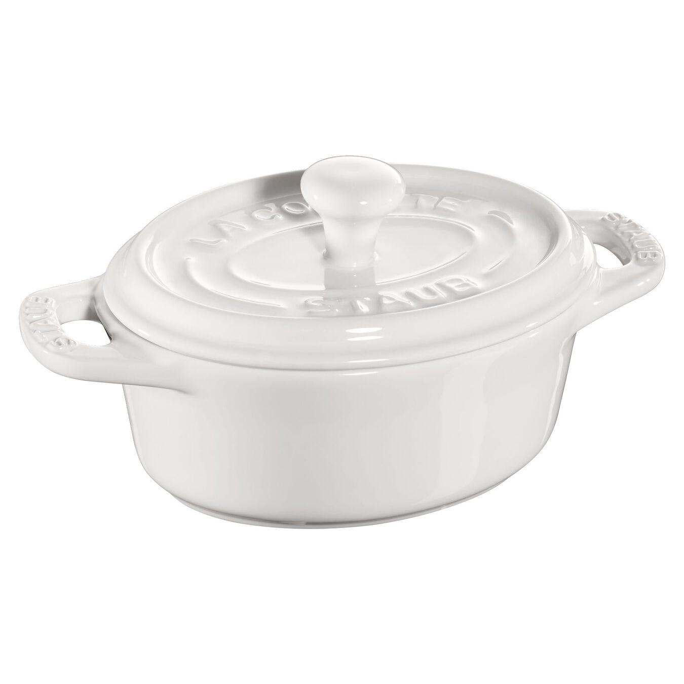 Mini Cocotte 11 cm, Ovale, Blanc pur, Céramique,,large 1