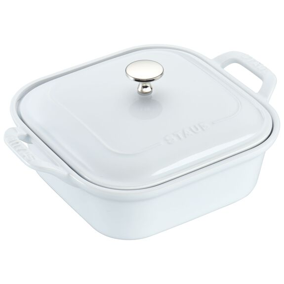 Ceramic Square Covered Baking Dish, White,,large
