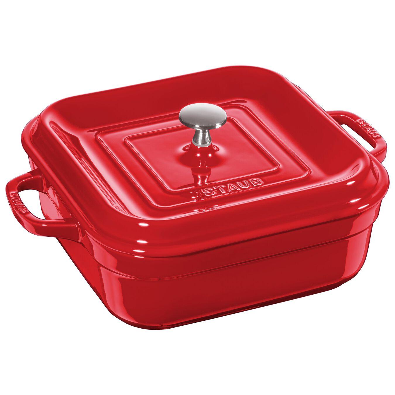 Ceramic square Oven dish, Cherry,,large 1