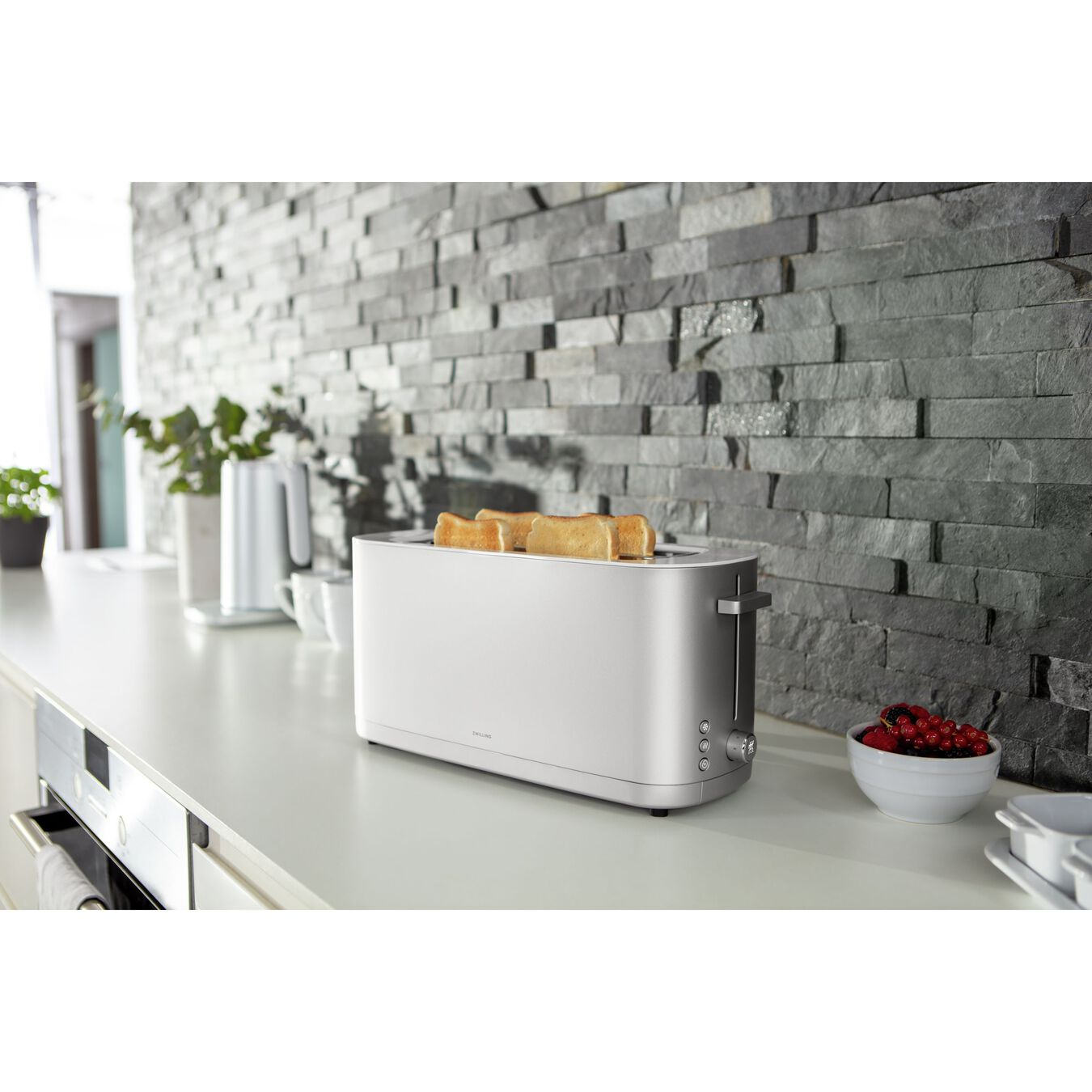 Toaster mit Brötchenaufsatz, 2 Schlitze lang, Silber,,large 2