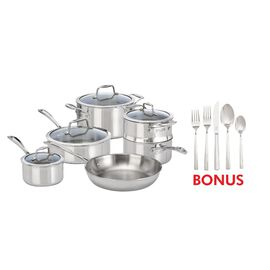 ZWILLING Vista Clad, 10 Piece cookware set with bonus 20-piece flatware set