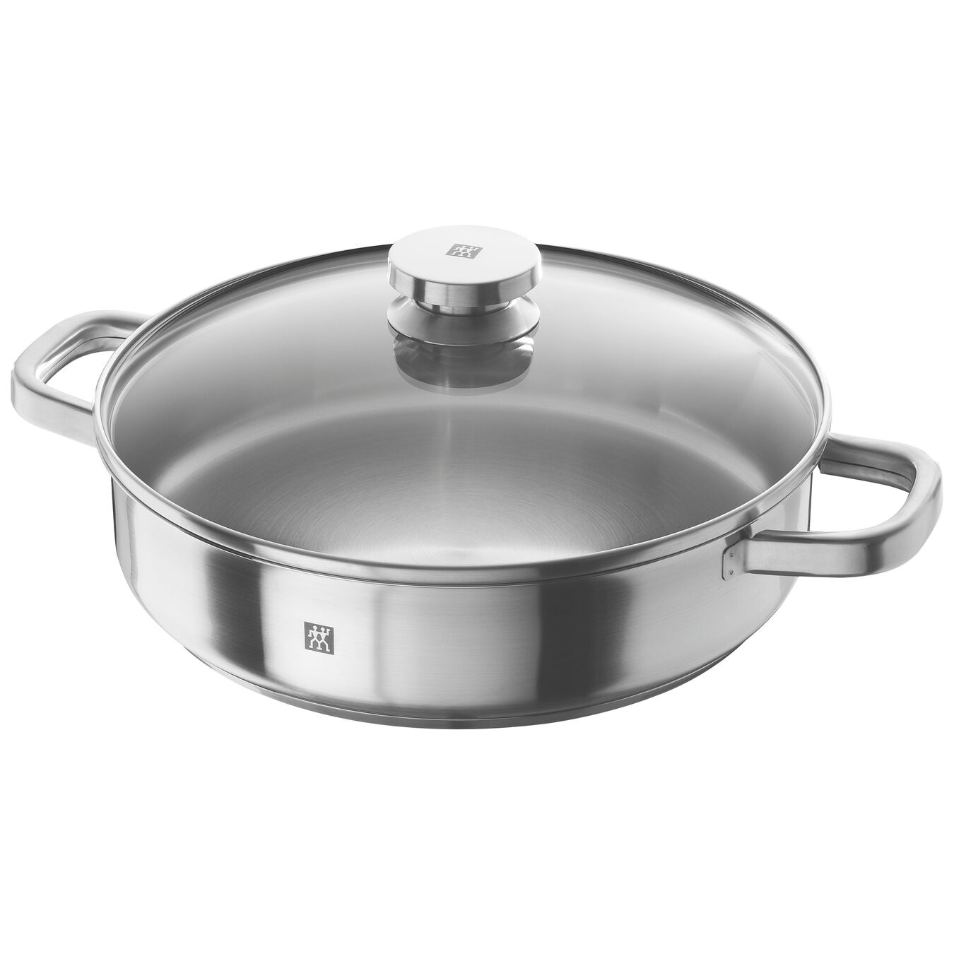 round Double Handled Saute Pan with lid, silver,,large 1