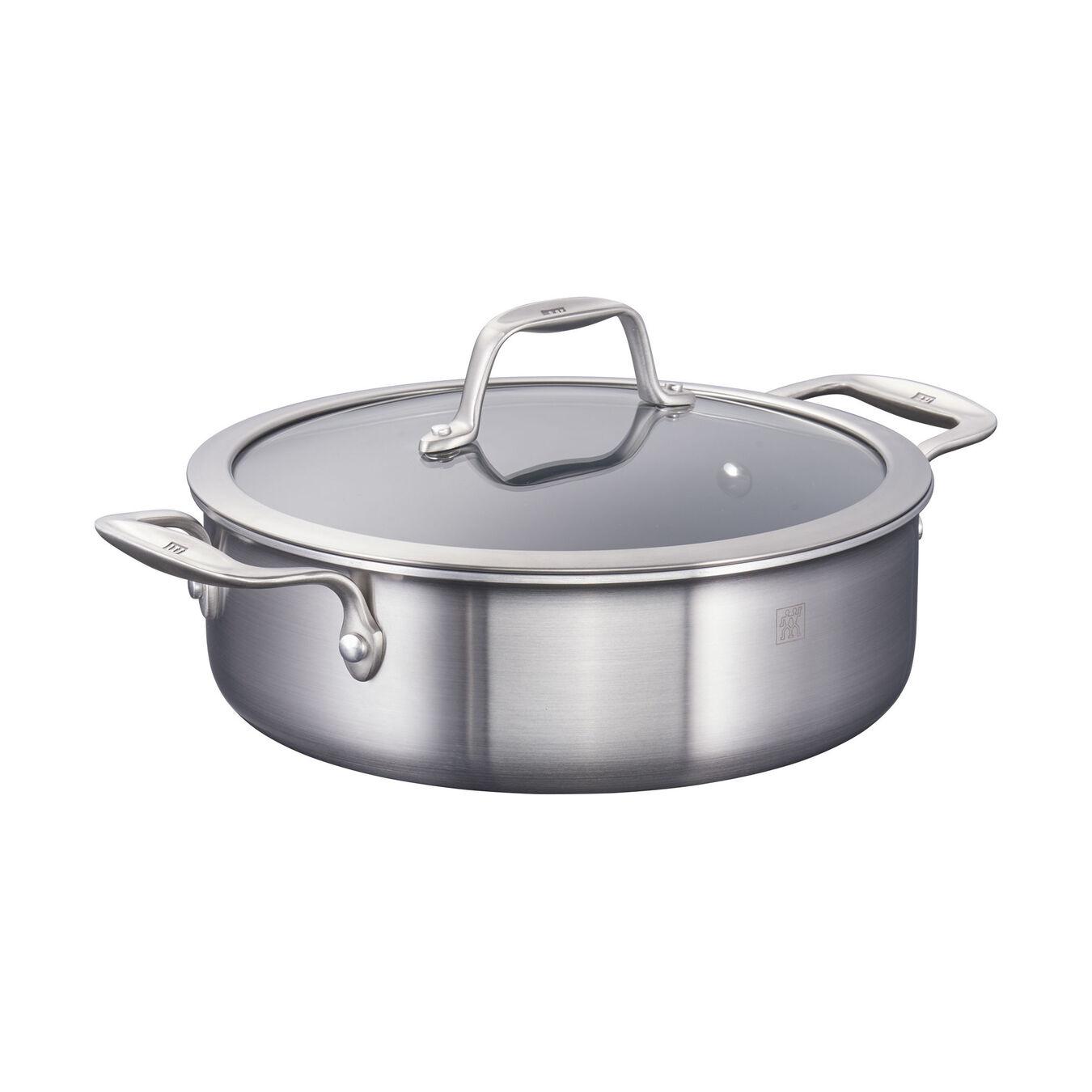 3-ply 6-pc Stainless Steel Ceramic Nonstick Breakfast Pan & Egg Poacher Set,,large 2