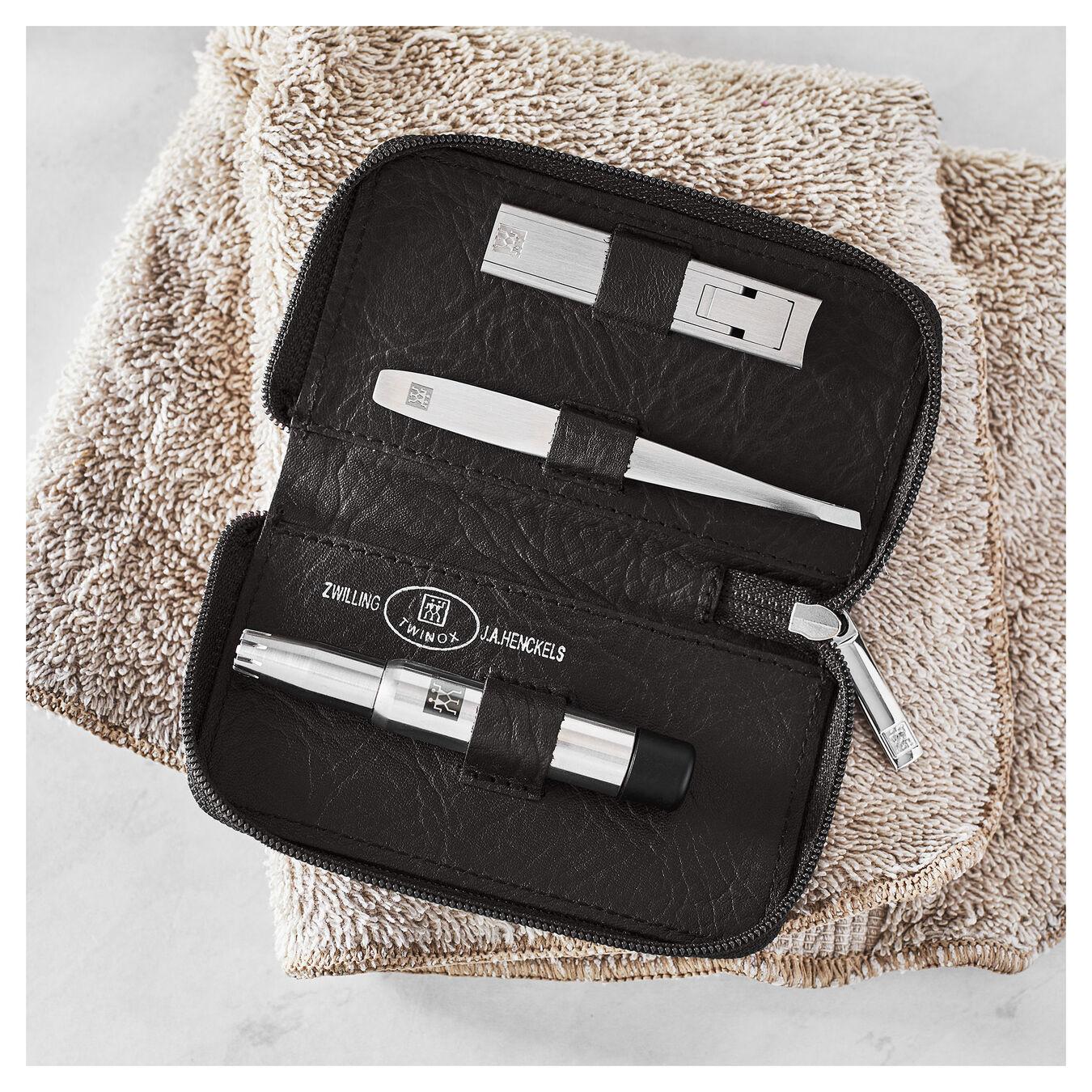 Zip fastener case, 4 Piece   special formula steel   brown,,large 3