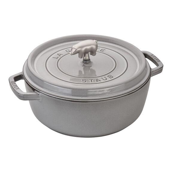 6-qt Cochon Shallow Wide Round Cocotte - Graphite Grey,,large